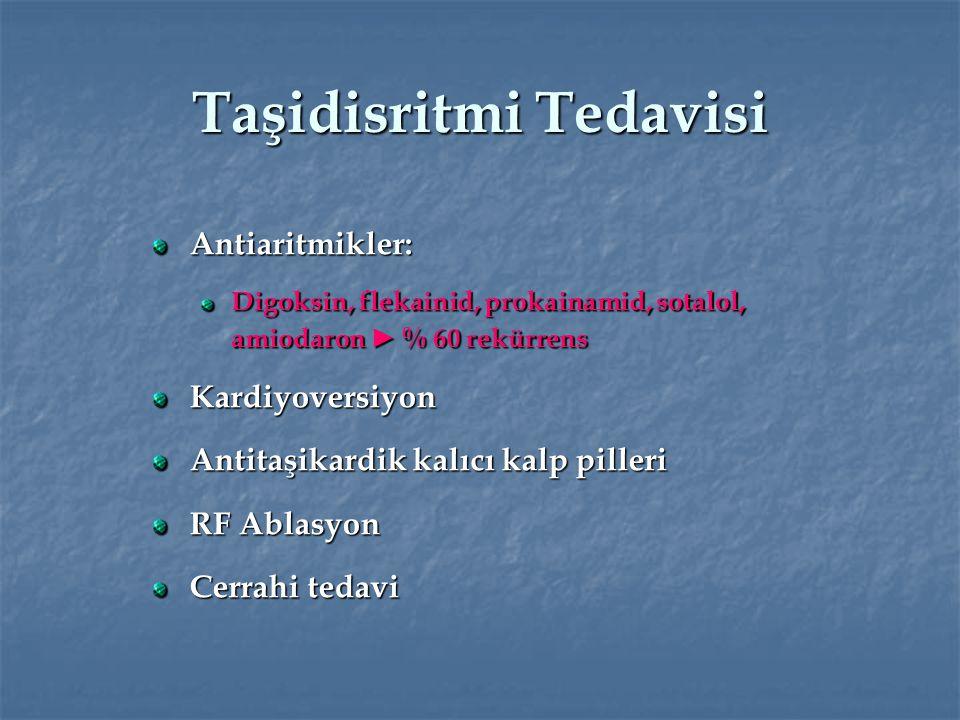 Taşidisritmi Tedavisi Antiaritmikler: Digoksin, flekainid, prokainamid, sotalol, amiodaron ► % 60 rekürrens Kardiyoversiyon Antitaşikardik kalıcı kalp