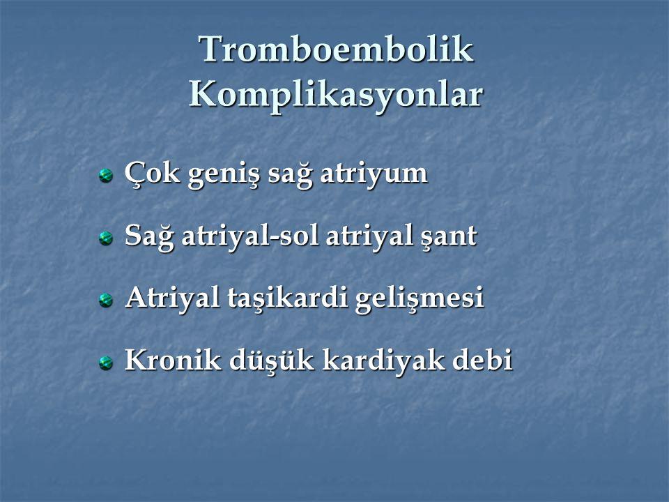 Tromboembolik Komplikasyonlar Çok geniş sağ atriyum Sağ atriyal-sol atriyal şant Atriyal taşikardi gelişmesi Kronik düşük kardiyak debi