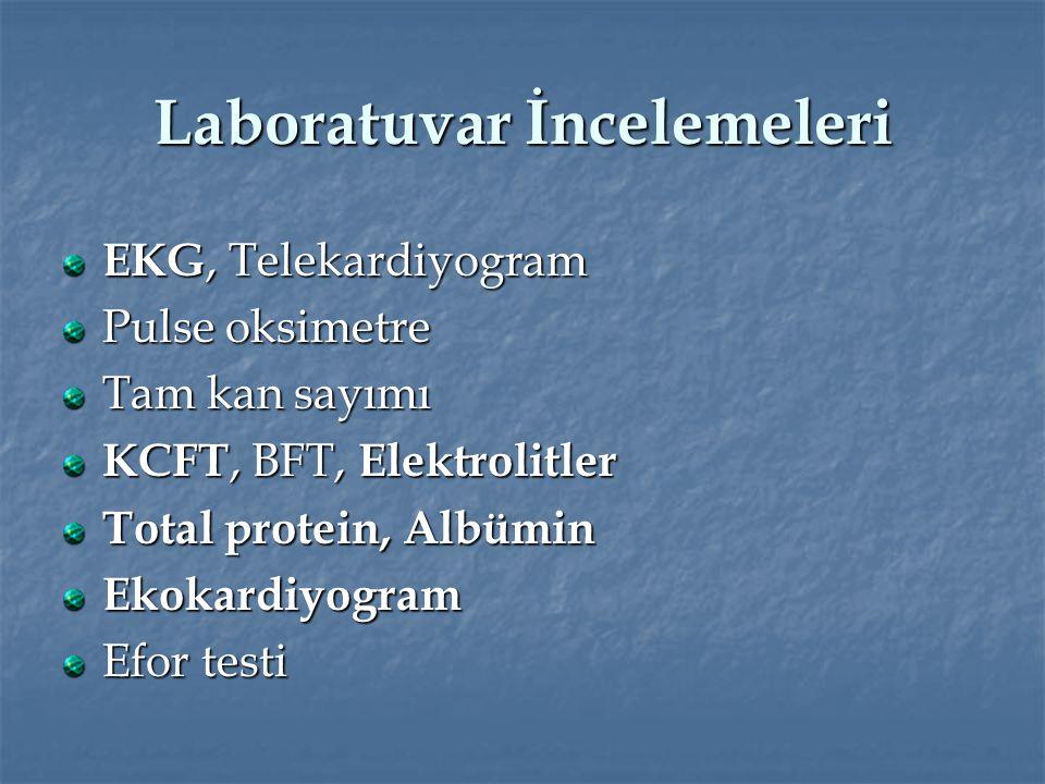 Laboratuvar İncelemeleri EKG, Telekardiyogram Pulse oksimetre Tam kan sayımı KCFT, BFT, Elektrolitler Total protein, Albümin Ekokardiyogram Efor testi