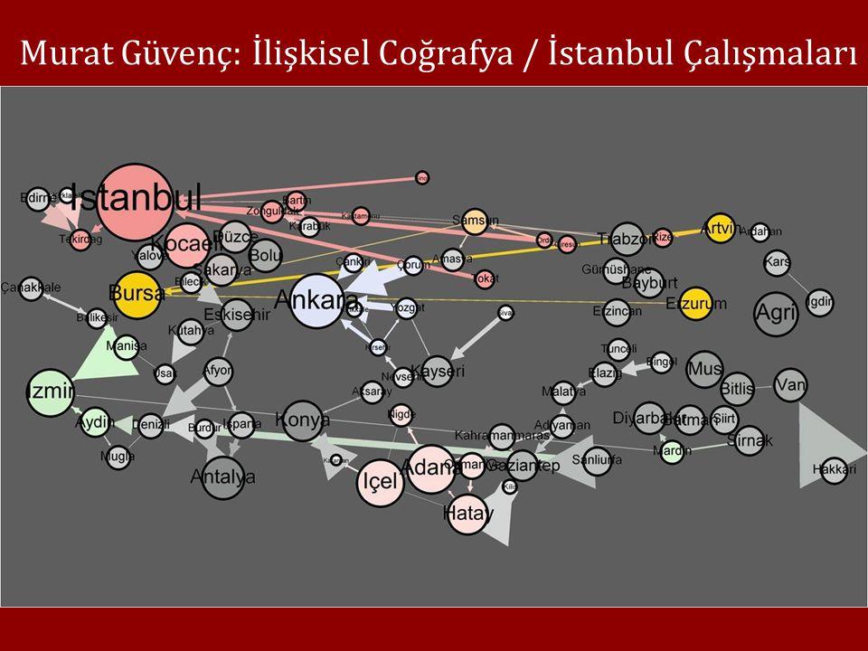 Murat Güvenç: İlişkisel Coğrafya / İstanbul Çalışmaları İstanbul coğrafyası temelli tarihsel ve güncel veri setleri İlişkisel-Sosyolojik Kartografi ǀ Braudel'in haritalarını yapan Jacques Bertin geleneği ǀ Niceliksel verinin coğrafî ayrım analizi Güvenç bunu Ludovic Lebart ve Jean-Paul Benzécri'yi izleyerek, ÇMA ile geliştiriyor