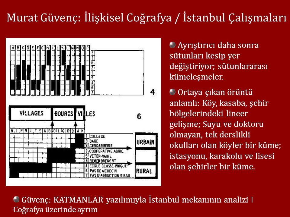Murat Güvenç: İlişkisel Coğrafya / İstanbul Çalışmaları Ayrıştırıcı daha sonra sütunları kesip yer değiştiriyor; sütunlararası kümeleşmeler.