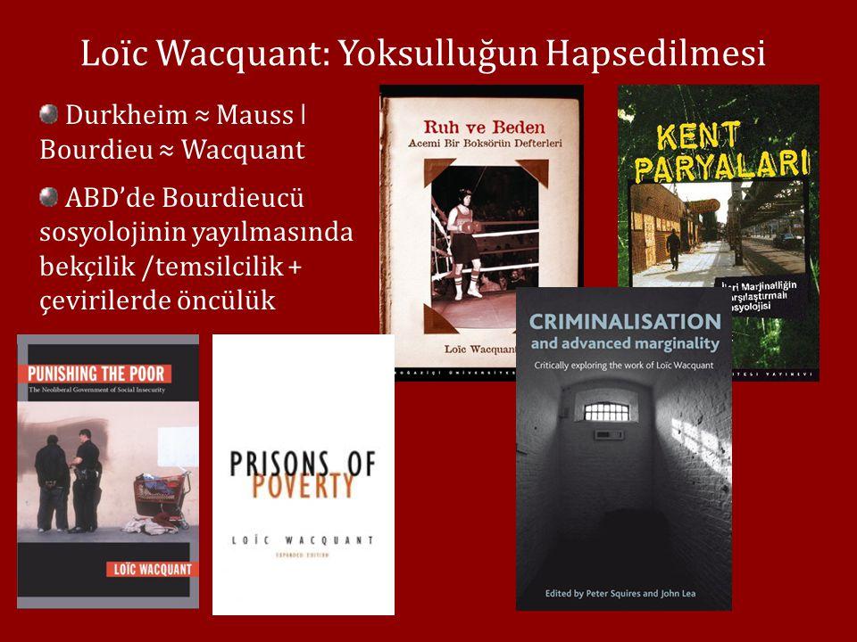 Loïc Wacquant: Yoksulluğun Hapsedilmesi Durkheim ≈ Mauss ǀ Bourdieu ≈ Wacquant ABD'de Bourdieucü sosyolojinin yayılmasında bekçilik /temsilcilik + çevirilerde öncülük