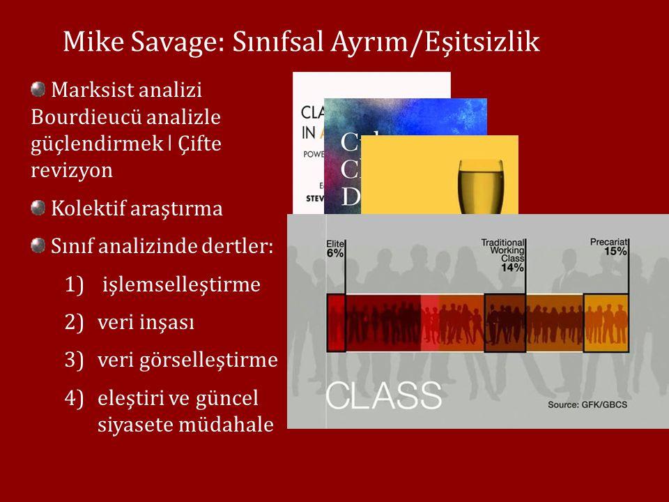 Mike Savage: Sınıfsal Ayrım/Eşitsizlik Sınıflaştıran ilişki/süreçler ǀ anti-tözcü 1) arketip /kağıt üstünde sınıf kavrayışının terki 2)meslek-indirgemeci kategorileştirmenin terki Üretim süreciyle ilişkiye bağlanan sınıf değil, toplumsal yeniden-üretimin ve kültürel ayrımın/dışlamanın denk boyutlar olarak katılması
