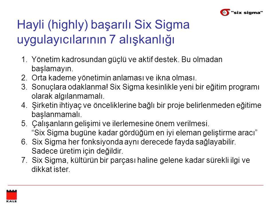 Hayli (highly) başarılı Six Sigma uygulayıcılarının 7 alışkanlığı 1.Yönetim kadrosundan güçlü ve aktif destek.