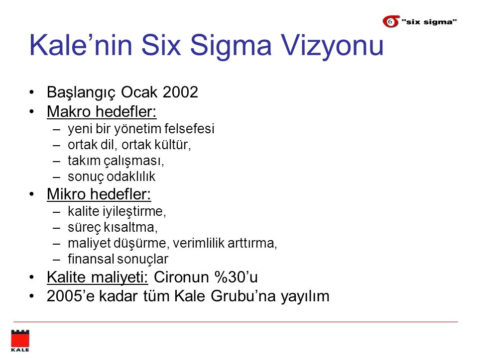Kale'nin Six Sigma Vizyonu Başlangıç Ocak 2002 Makro hedefler: –yeni bir yönetim felsefesi –ortak dil, ortak kültür, –takım çalışması, –sonuç odaklılık Mikro hedefler: –kalite iyileştirme, –süreç kısaltma, –maliyet düşürme, verimlilik arttırma, –finansal sonuçlar Kalite maliyeti: Cironun %30'u 2005'e kadar tüm Kale Grubu'na yayılım