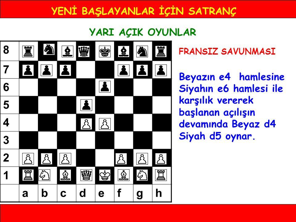 YENİ BAŞLAYANLAR İÇİN SATRANÇ YARI AÇIK OYUNLAR FRANSIZ SAVUNMASI Beyazın e4 hamlesine Siyahın e6 hamlesi ile karşılık vererek başlanan açılışın devam