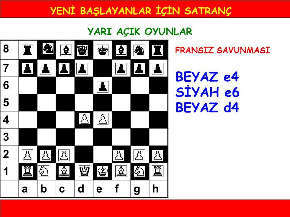 YENİ BAŞLAYANLAR İÇİN SATRANÇ YARI AÇIK OYUNLAR FRANSIZ SAVUNMASI BEYAZ e4 SİYAH e6 BEYAZ d4 8 7 6 5 4 3 2 1 abcdefgh
