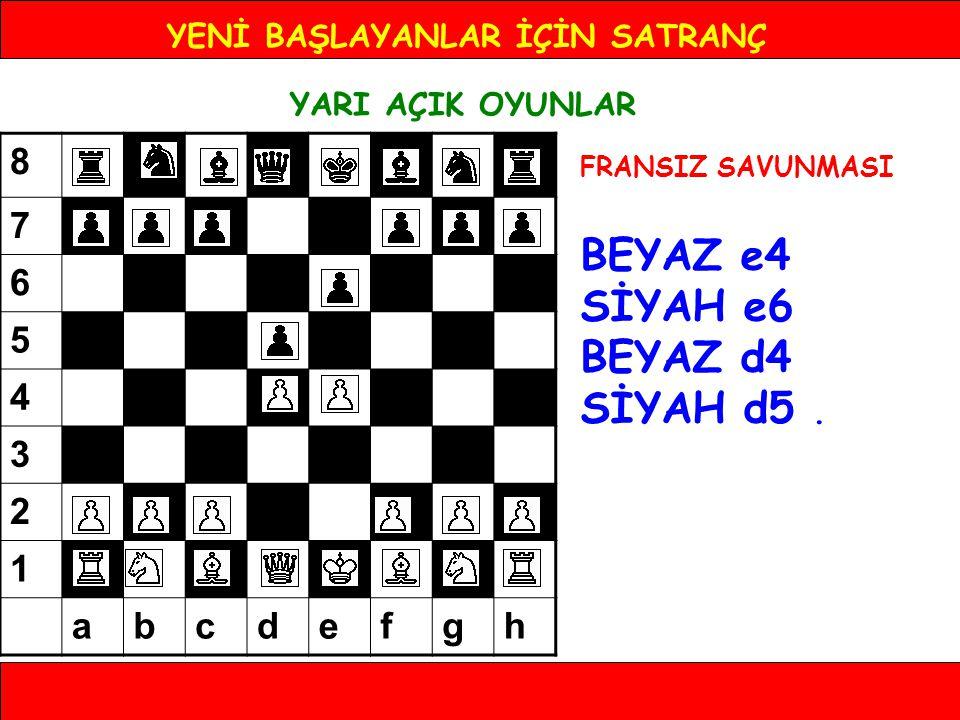 YENİ BAŞLAYANLAR İÇİN SATRANÇ YARI AÇIK OYUNLAR FRANSIZ SAVUNMASI BEYAZ e4 SİYAH e6 BEYAZ d4 SİYAH d5. 8 7 6 5 4 3 2 1 abcdefgh