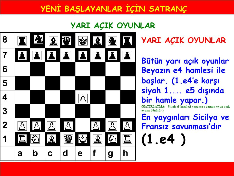 YENİ BAŞLAYANLAR İÇİN SATRANÇ YARI AÇIK OYUNLAR YARI AÇIK OYUNLAR Bütün yarı açık oyunlar Beyazın e4 hamlesi ile başlar. (1.e4'e karşı siyah 1.... e5