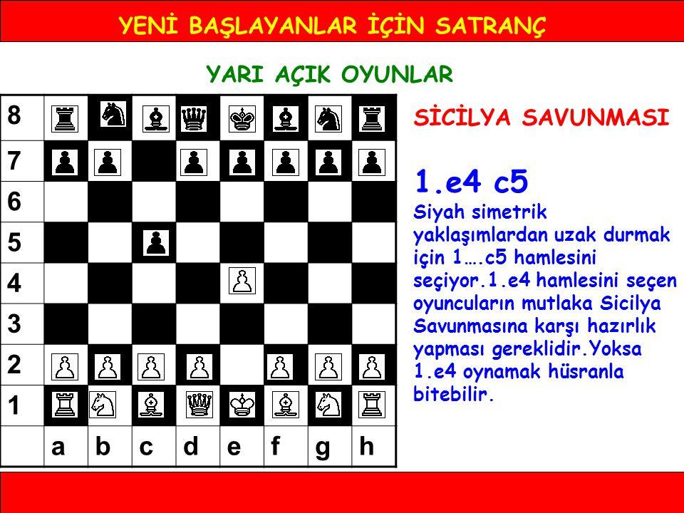 YENİ BAŞLAYANLAR İÇİN SATRANÇ YARI AÇIK OYUNLAR SİCİLYA SAVUNMASI 1.e4 c5 2.Af3 En çok oynanan devam yoludur.d4 hamlesini hazırlıyor.2.Ac3 hamlesi kapalı devam yoluna götürür.