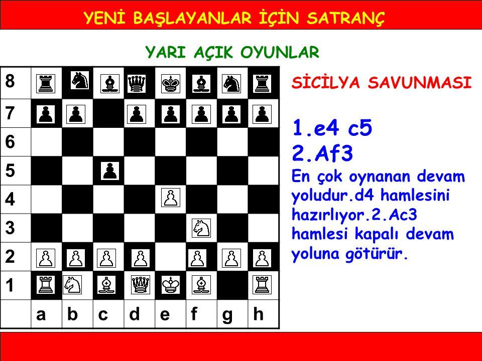 YENİ BAŞLAYANLAR İÇİN SATRANÇ YARI AÇIK OYUNLAR SİCİLYA SAVUNMASI 1.e4 c5 2.Af3 En çok oynanan devam yoludur.d4 hamlesini hazırlıyor.2.Ac3 hamlesi kap