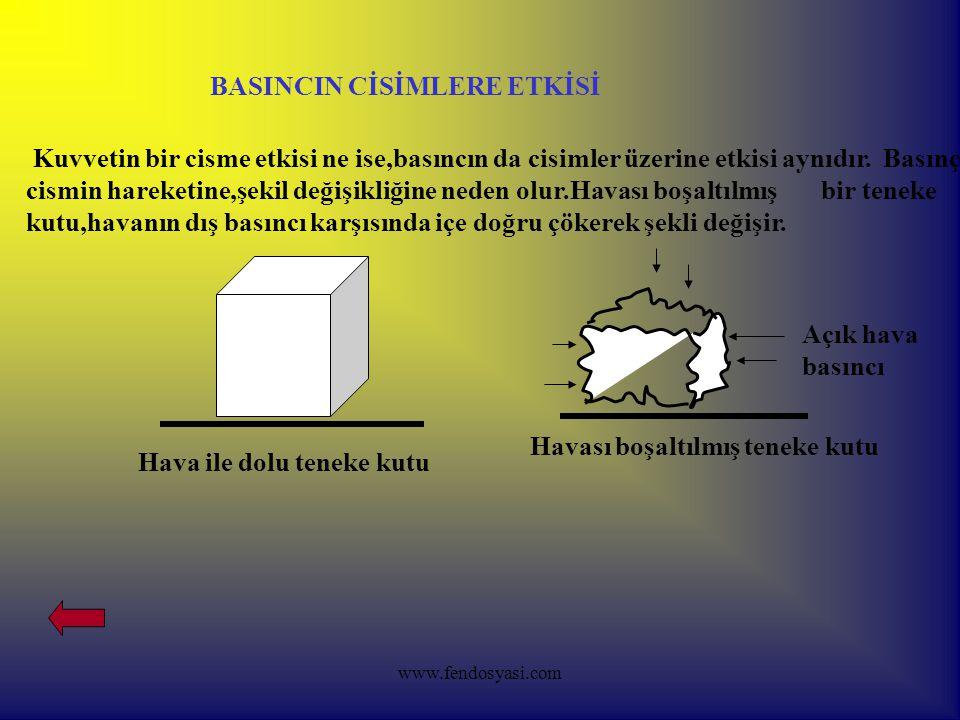 www.fendosyasi.com BASINCIN CİSİMLERE ETKİSİ Kuvvetin bir cisme etkisi ne ise,basıncın da cisimler üzerine etkisi aynıdır.