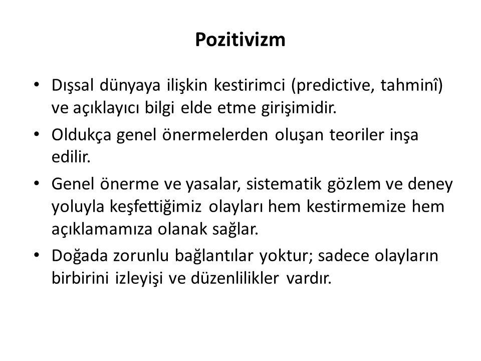 Pozitivizm Dışsal dünyaya ilişkin kestirimci (predictive, tahminî) ve açıklayıcı bilgi elde etme girişimidir. Oldukça genel önermelerden oluşan teoril