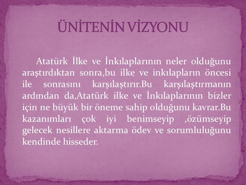 Atatürk İlke ve İnkılaplarının neler olduğunu araştırdıktan sonra,bu ilke ve inkılapların öncesi ile sonrasını karşılaştırır.Bu karşılaştırmanın ardından da,Atatürk ilke ve İnkılaplarının bizler için ne büyük bir öneme sahip olduğunu kavrar.Bu kazanımları çok iyi benimseyip,özümseyip gelecek nesillere aktarma ödev ve sorumluluğunu kendinde hisseder.