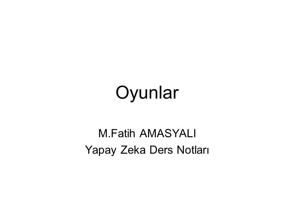 Oyunlar M.Fatih AMASYALI Yapay Zeka Ders Notları