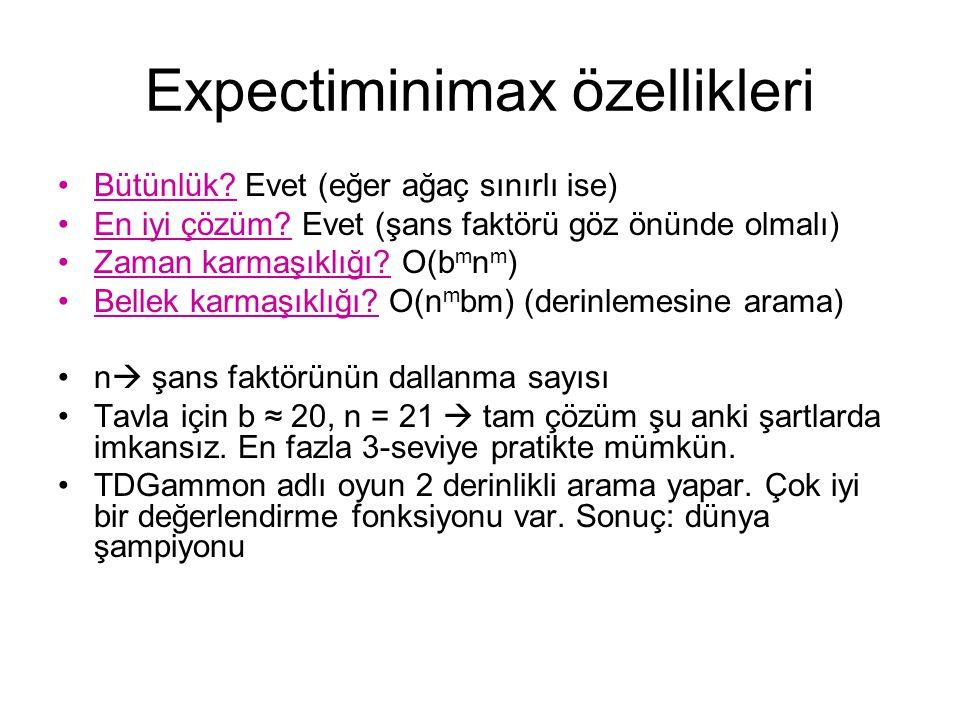 Expectiminimax özellikleri Bütünlük.Evet (eğer ağaç sınırlı ise) En iyi çözüm.