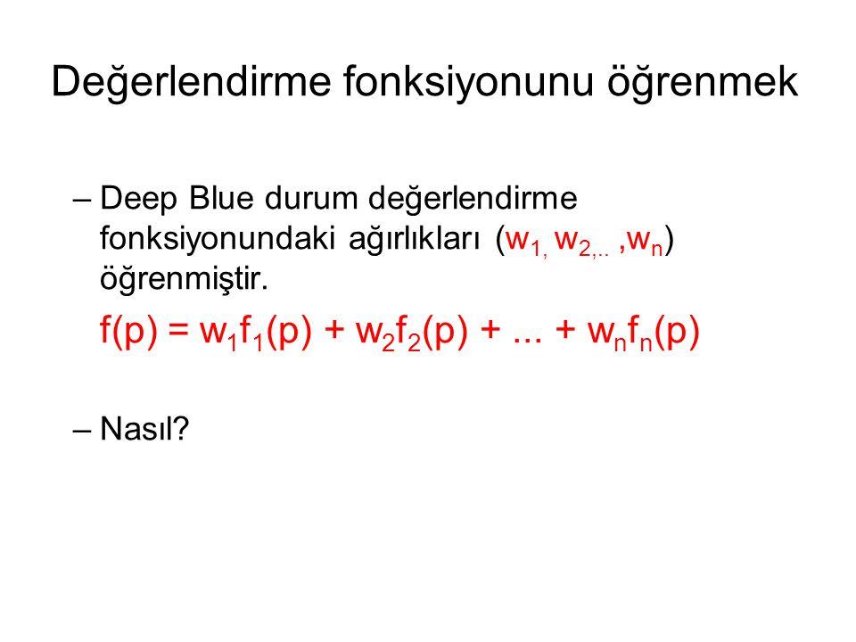 –Deep Blue durum değerlendirme fonksiyonundaki ağırlıkları (w 1, w 2,..,w n ) öğrenmiştir.
