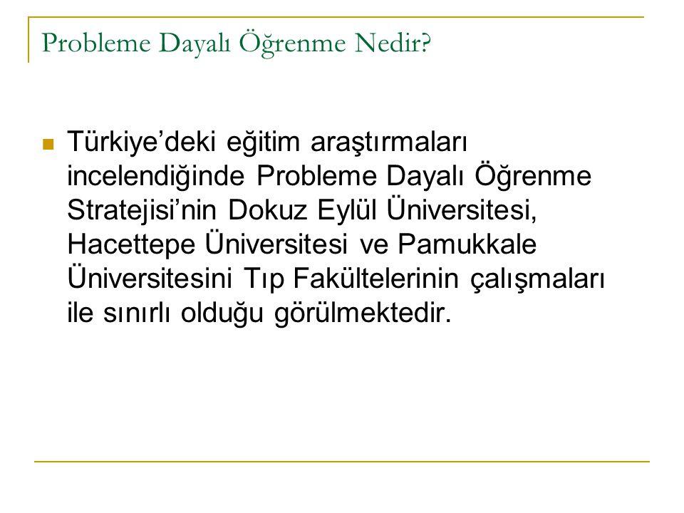 Probleme Dayalı Öğrenme Nedir? Türkiye'deki eğitim araştırmaları incelendiğinde Probleme Dayalı Öğrenme Stratejisi'nin Dokuz Eylül Üniversitesi, Hacet