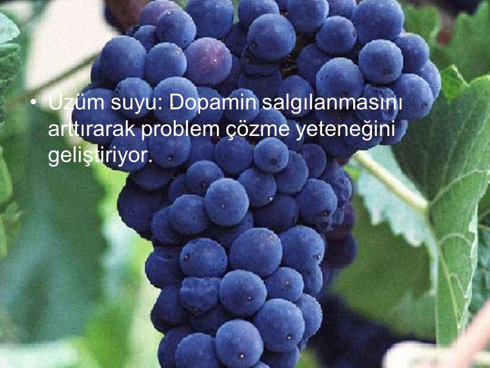 Üzüm suyu: Dopamin salgılanmasını arttırarak problem çözme yeteneğini geliştiriyor.