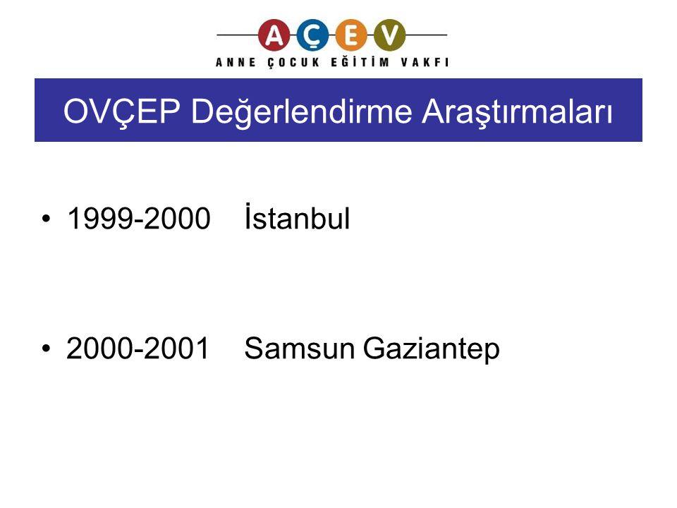 OVÇEP Değerlendirme Araştırmaları 1999-2000İstanbul 2000-2001Samsun Gaziantep