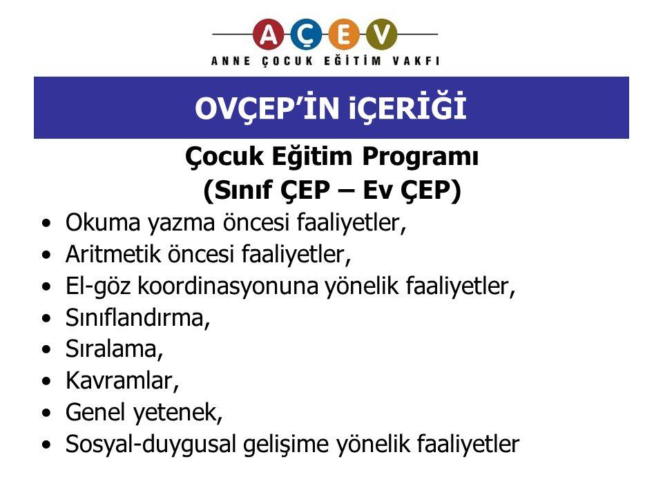 OVÇEP'İN iÇERİĞİ Çocuk Eğitim Programı (Sınıf ÇEP – Ev ÇEP) Okuma yazma öncesi faaliyetler, Aritmetik öncesi faaliyetler, El-göz koordinasyonuna yönel