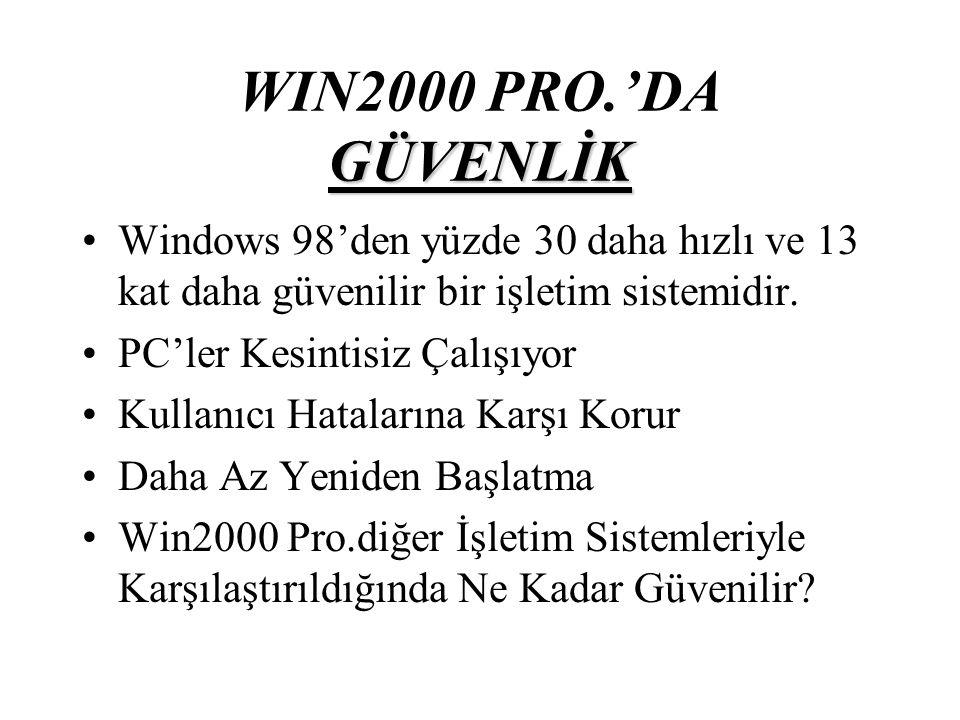 GÜVENLİK WIN2000 PRO.'DA GÜVENLİK Windows 98'den yüzde 30 daha hızlı ve 13 kat daha güvenilir bir işletim sistemidir.