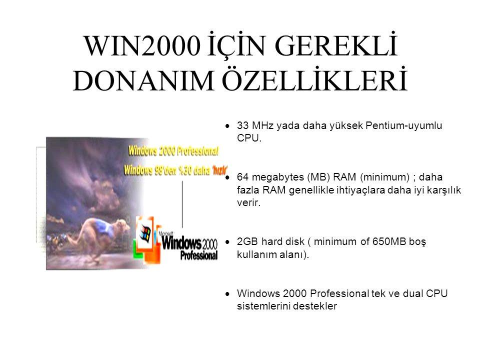 WIN2000 İÇİN GEREKLİ DONANIM ÖZELLİKLERİ  33 MHz yada daha yüksek Pentium-uyumlu CPU.