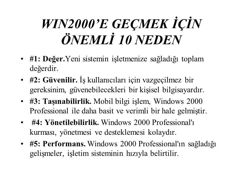 WIN2000'E GEÇMEK İÇİN ÖNEMLİ 10 NEDEN #1: Değer.Yeni sistemin işletmenize sağladığı toplam değerdir.