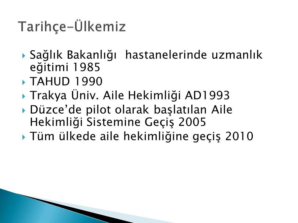  Sağlık Bakanlığı hastanelerinde uzmanlık eğitimi 1985  TAHUD 1990  Trakya Üniv. Aile Hekimliği AD1993  Düzce'de pilot olarak başlatılan Aile Heki