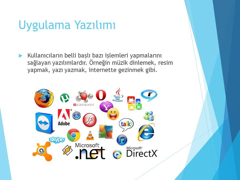 Uygulama Yazılımı  Kullanıcıların belli başlı bazı işlemleri yapmalarını sağlayan yazılımlardır.
