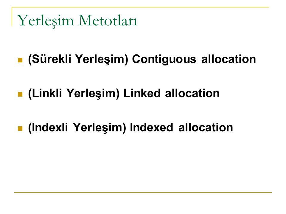 Yerleşim Metotları (Sürekli Yerleşim) Contiguous allocation (Linkli Yerleşim) Linked allocation (Indexli Yerleşim) Indexed allocation