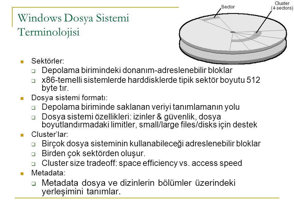 Windows Dosya Sistemi Terminolojisi Sektörler:  Depolama birimindeki donanım-adreslenebilir bloklar  x86-temelli sistemlerde harddisklerde tipik sektör boyutu 512 byte tır.