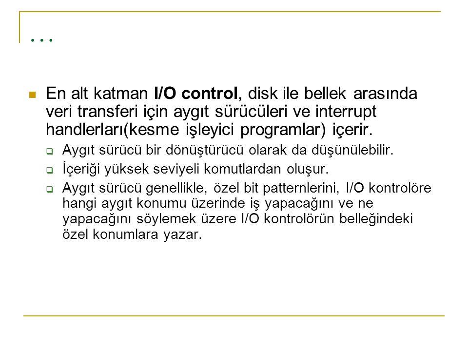 … En alt katman I/O control, disk ile bellek arasında veri transferi için aygıt sürücüleri ve interrupt handlerları(kesme işleyici programlar) içerir.