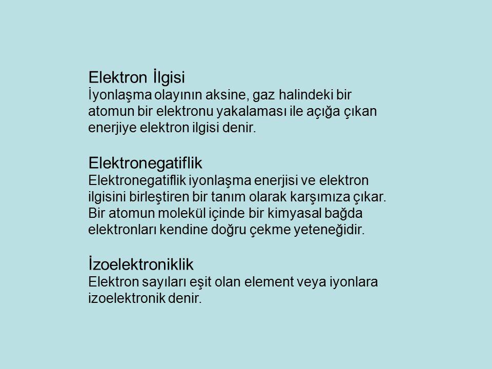 Elektron İlgisi İyonlaşma olayının aksine, gaz halindeki bir atomun bir elektronu yakalaması ile açığa çıkan enerjiye elektron ilgisi denir. Elektrone