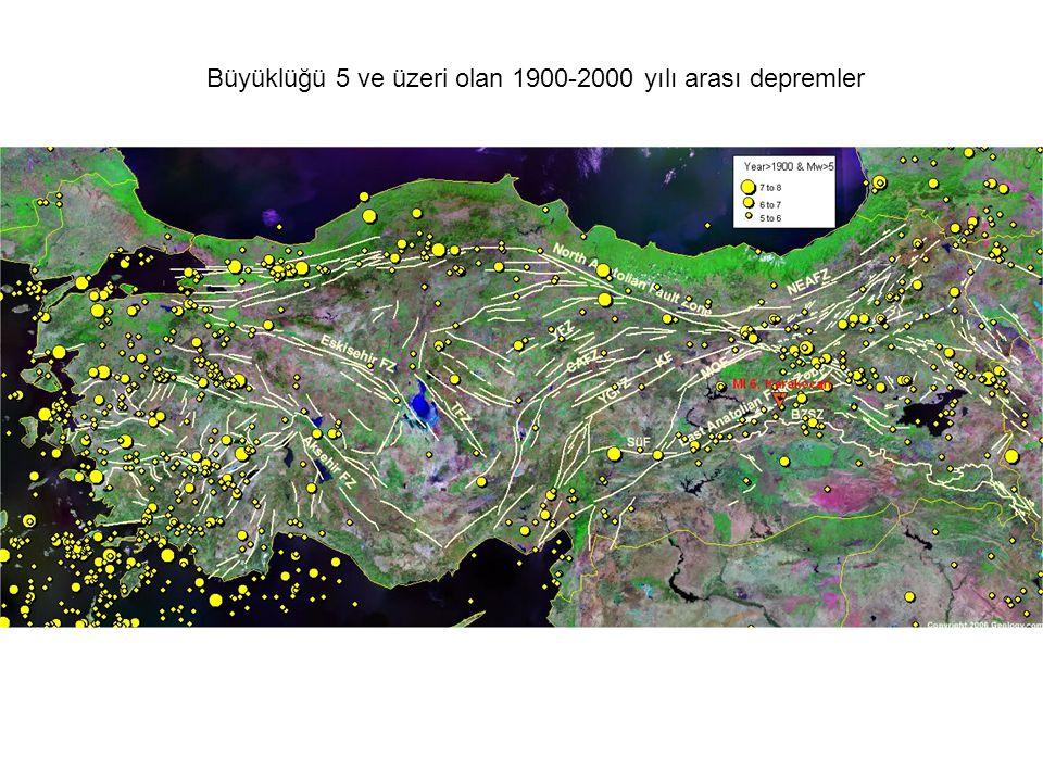 Büyüklüğü 5 ve üzeri olan 1900-2000 yılı arası depremler