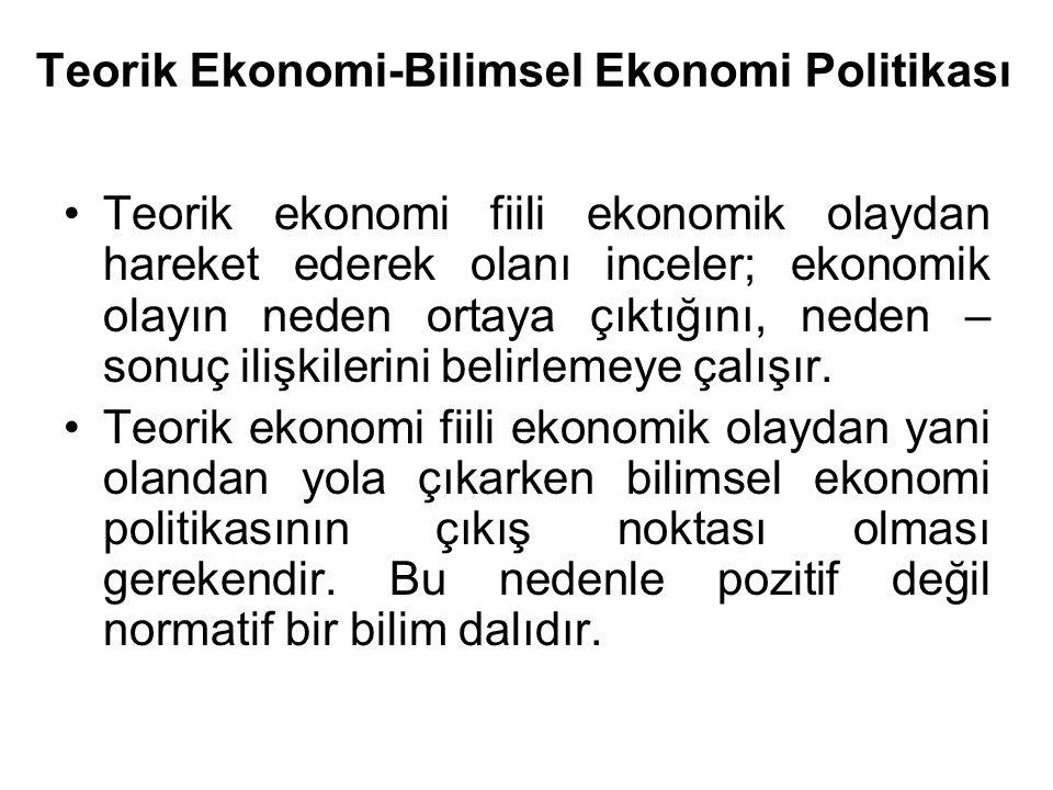 Teorik Ekonomi-Bilimsel Ekonomi Politikası Teorik ekonomi fiili ekonomik olaydan hareket ederek olanı inceler; ekonomik olayın neden ortaya çıktığını,