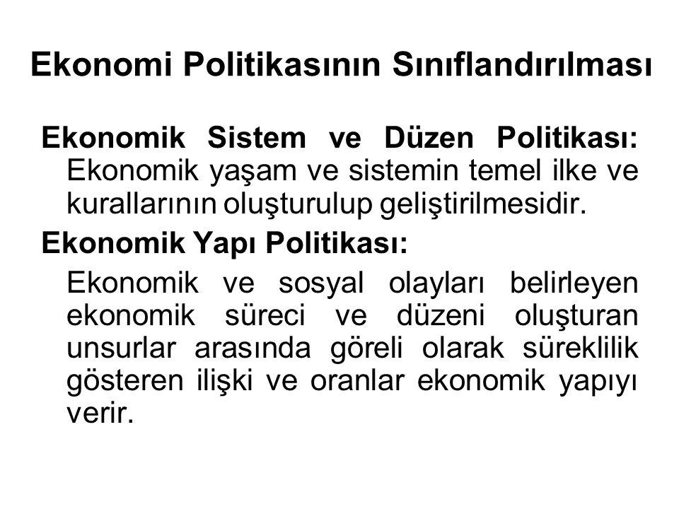 Ekonomi Politikasının Sınıflandırılması Ekonomik Sistem ve Düzen Politikası: Ekonomik yaşam ve sistemin temel ilke ve kurallarının oluşturulup gelişti