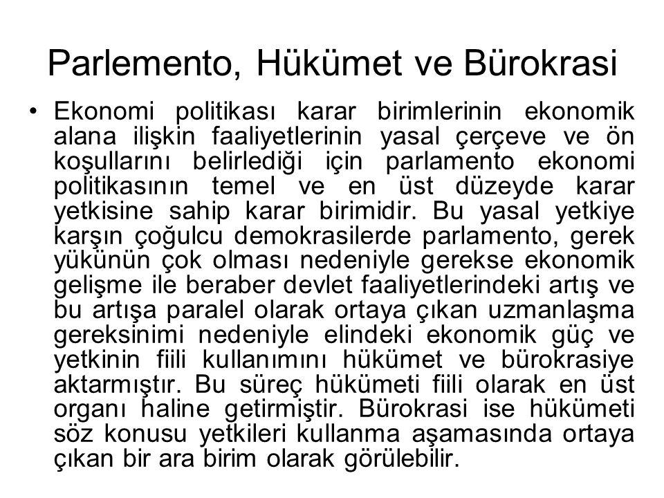 Parlemento, Hükümet ve Bürokrasi Ekonomi politikası karar birimlerinin ekonomik alana ilişkin faaliyetlerinin yasal çerçeve ve ön koşullarını belirled