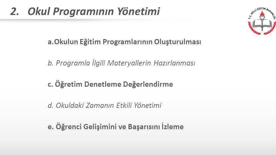 2. Okul Programının Yönetimi a.Okulun Eğitim Programlarının Oluşturulması b. Programla İlgili Materyallerin Hazırlanması c. Öğretim Denetleme Değerlen