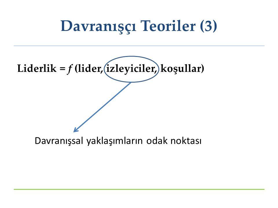 Liderlik = f (lider, izleyiciler, koşullar) Davranışsal yaklaşımların odak noktası Davranışçı Teoriler (3)
