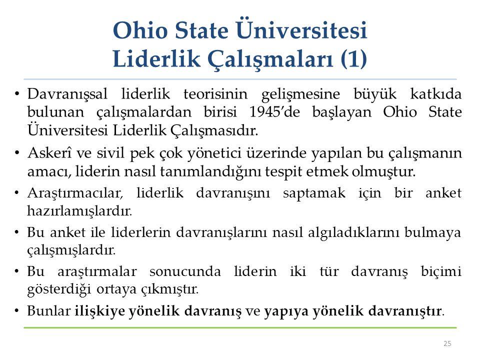 Ohio State Üniversitesi Liderlik Çalışmaları (1) Davranışsal liderlik teorisinin gelişmesine büyük katkıda bulunan çalışmalardan birisi 1945'de başlay