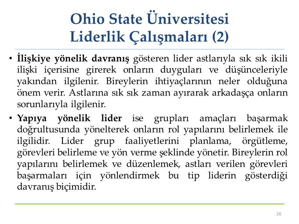 Ohio State Üniversitesi Liderlik Çalışmaları (2) İlişkiye yönelik davranış gösteren lider astlarıyla sık sık ikili ilişki içerisine girerek onların du