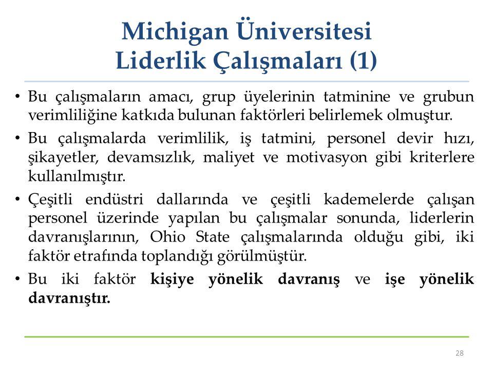 Michigan Üniversitesi Liderlik Çalışmaları (1) Bu çalışmaların amacı, grup üyelerinin tatminine ve grubun verimliliğine katkıda bulunan faktörleri bel