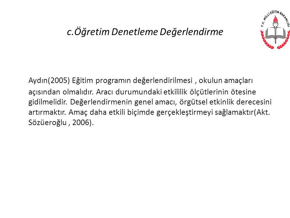 c.Öğretim Denetleme Değerlendirme Aydın(2005) Eğitim programın değerlendirilmesi, okulun amaçları açısından olmalıdır. Aracı durumundaki etkililik ölç