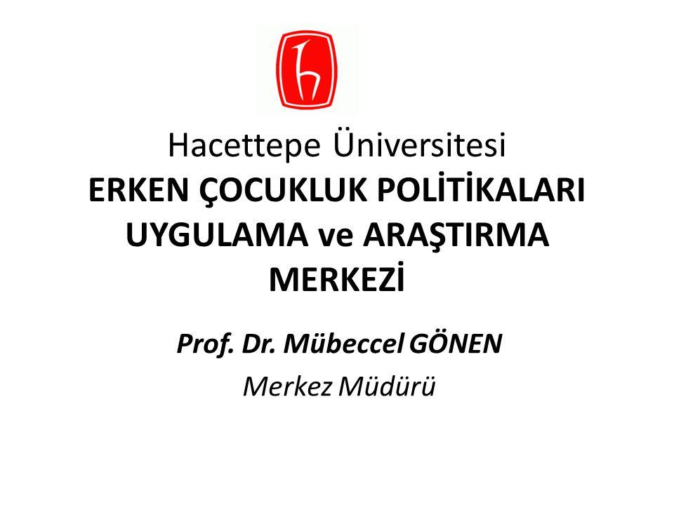 Hacettepe Üniversitesi ERKEN ÇOCUKLUK POLİTİKALARI UYGULAMA ve ARAŞTIRMA MERKEZİ Prof. Dr. Mübeccel GÖNEN Merkez Müdürü