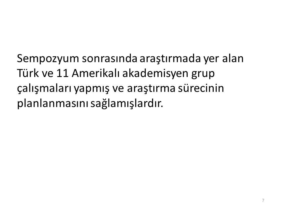 Sempozyum sonrasında araştırmada yer alan Türk ve 11 Amerikalı akademisyen grup çalışmaları yapmış ve araştırma sürecinin planlanmasını sağlamışlardır