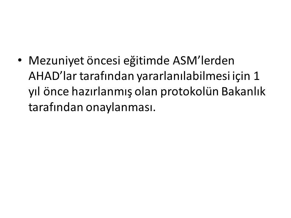 Mezuniyet öncesi eğitimde ASM'lerden AHAD'lar tarafından yararlanılabilmesi için 1 yıl önce hazırlanmış olan protokolün Bakanlık tarafından onaylanmas