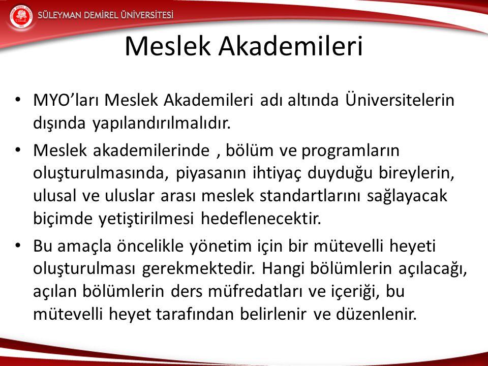 Meslek Akademileri MYO'ları Meslek Akademileri adı altında Üniversitelerin dışında yapılandırılmalıdır.