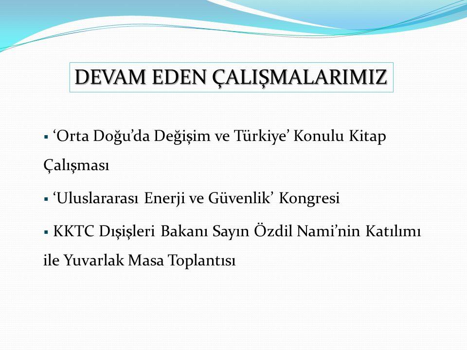  'Orta Doğu'da Değişim ve Türkiye' Konulu Kitap Çalışması  'Uluslararası Enerji ve Güvenlik' Kongresi  KKTC Dışişleri Bakanı Sayın Özdil Nami'nin Katılımı ile Yuvarlak Masa Toplantısı DEVAM EDEN ÇALIŞMALARIMIZ