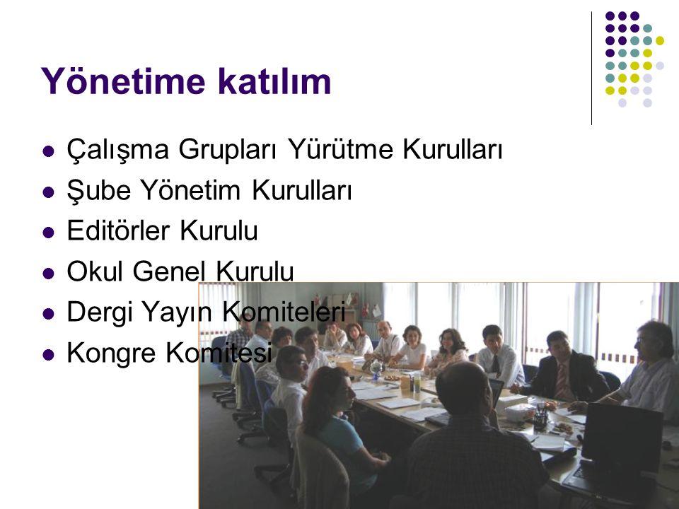 Yönetime katılım Çalışma Grupları Yürütme Kurulları Şube Yönetim Kurulları Editörler Kurulu Okul Genel Kurulu Dergi Yayın Komiteleri Kongre Komitesi